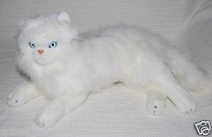 New White Persian Cat Lying Soft Stuffed Animal Plush Toy 33cm