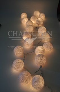 20 White Cotton Ball String Lights Handmade Decor Happy Snowball Home Wedding