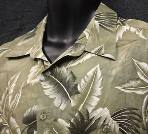 Men L Hawaiian Shirt Aloha Camp Rayon Palm Caladium Floral Tropical Olive Green