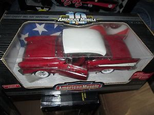 1957 Chevy Belair Hardtop 10 Year Annversary w Coin Red 1 18 32917 2001