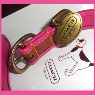 Coach Pink Saddle Leather Brass Stud Dog Collar XS