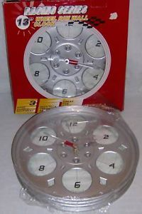 "Racing Series 13"" Wheel Rim Wall Clock New Hand Quartz"