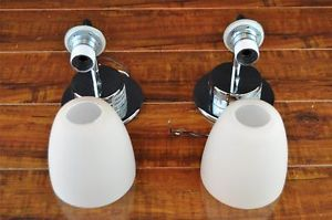 Pair of Wall Mount Sconce Lighting Fixture Light Mini Cans w Frosted Glass 3187