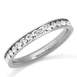 White Crystal Silver Copper or Gold Stainless Steel Wedding Eternity Band Ring
