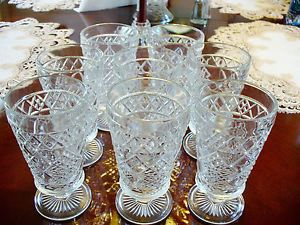 Set of 8 Vintage Jelly Jam Pressed Glass Water Goblets or Wine Glasses