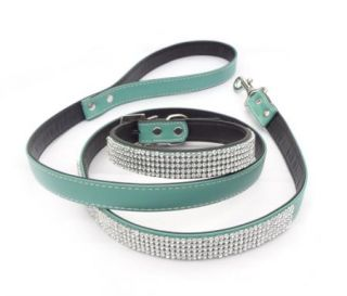 New Green Bling Rhinestone Crystal Jeweled PU Leather Pet Dog Collar Leash Set