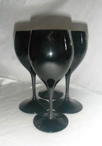 4 Stunning Black Amethyst Wine Water Goblets Glasses Stemware Wedding Toast