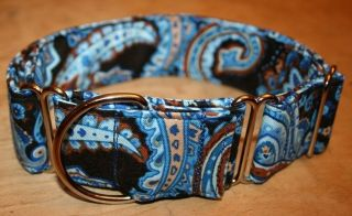 Paisley Brown Blue Adjustable Dog Collars Martingales Leashes
