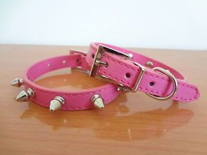 Hot Pink Leather Spiked Studded Collars Small Dog Cat Puppy Pet Collars Size S