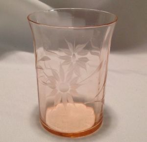 Vintage Antique Pink Depression Glass Water Juice Glass Ribbed Etched Flower