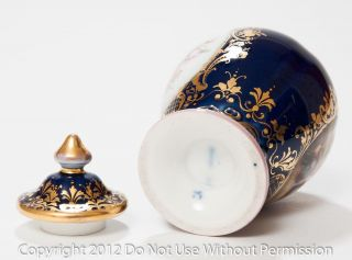 Pair German Antique Hand Painted Porcelain Lidded Vases with Berlin Marks
