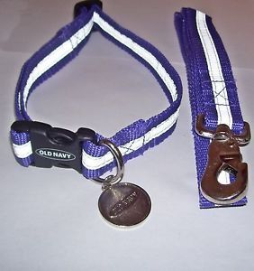 "Old Navy Reflective Nylon Dog Collar and Leash Purple Size 14"" 23"" Neck"