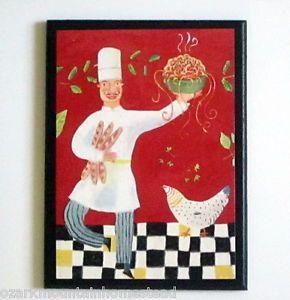 Chef Wall Decor Plaque Silly Dancing Chefs Kitchen Sign Red Black White