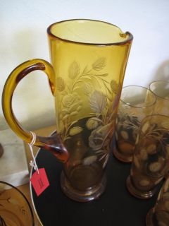 Etched Art Deco 1930s Amber Glass Water Jug Glasses Set