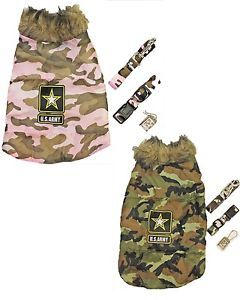 U s Army Green or Pink Camo Dog Puppy Set Vest Leash Collar Tag