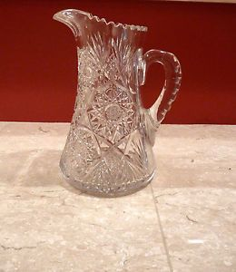 Large Antique American Brilliant Cut Glass Water Lemonade Pitcher