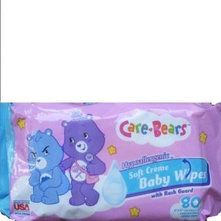 8 Refill Care Bears Baby Wipes Hypoallergenic with Rash Gard 80 Each