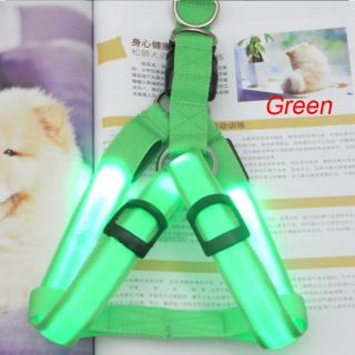 Green LED Flashing Light Safety Pet Dog Harness Leash Belt Rope Collar 1 Pcs S