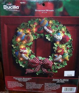 "Bucilla Lighted ""Ornament Wreath"" Felt Christmas Kit Very RARE Factory Direct"