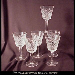 6 Antique Waterford Crystal White Wine Glasses Alana
