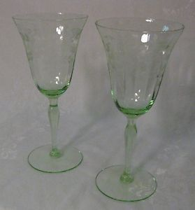 Set of 2 Green Depression Glass Wine Glasses Goblets Etched Design