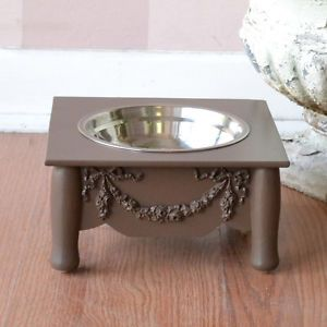 "Shabby Cottage Chic Single Bowl Raised Pet Feeder Chocolate Brown 4"" Dog Cat"