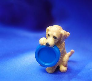 Vintage Adorable Golden Retriever Puppy Dog Plays w Blue Food Bowl Toy Dog