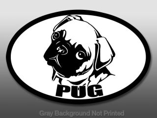 Oval Pug Sticker Window Decal Dog Dogs Cute Stickers