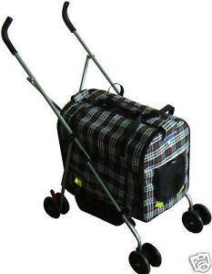 New 4 in 1 Pet Dog Cat Stroller Carrier House Car Seat Red Plaid