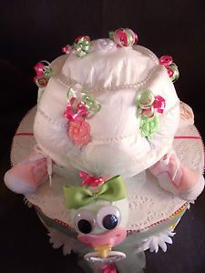 Pink Green Turtle Diaper Cake Topper Baby Shower Decorations