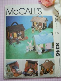 McCall's 8346 669 Miniature House Furniture and Animal Families Rag Stuffed Doll