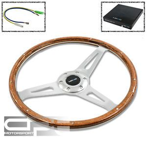 NRG 365mm 6 Hole Wood Grain Large Steering Wheel Polished Aluminum Rivet Horn