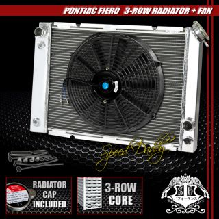 "3 Row Aluminum Racing Radiator 14"" Black Fan 84 88 Pontiac Fiero 2 5L 2 8L I4 V6"