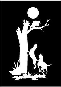 White Vinyl Decal Coon Dog Tree Hunting Hunt Raccoon