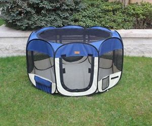 New Small Navy Blue Pet Dog Cat Tent Playpen Exercise Play Pen Soft Crate