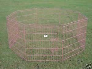 "New BestPet 30"" Pink Pet Dog Cat Play Exercise Pen Fence w Case 4P Playpen Crate"