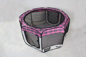 New Small Pinkplaid Pet Dog Cat Tent Puppy Playpen Exercise Pen
