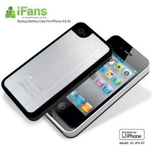Ifans Ultra Slim Brushed Aluminum Battery Case Charger for iPhone4 4S Silver