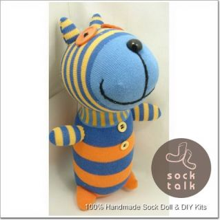 Handmade Orange Blue Striped Sock Monkey Dog Stuffed Animals Doll Baby Toy