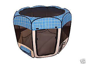 Blue Grid Pet Dog Cat Tent Puppy Playpen Exercise Pen