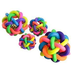 Rainbow Color Rubber Bell Ball Pet Dog Toy Sound Ball Chew Toy Play Gift 3 Size