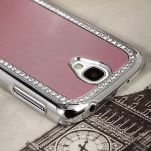 Bling Brushed Aluminum Chrome Hard Case for Samsung Galaxy S4 IV I9500 Pink Film