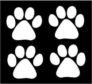 White Vinyl Decal Paw Prints Tracks Dog Cat Kitty Fun Sticker