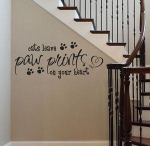 Dogs Cats Leave Paw Prints on Your Heart Vinyl Wall Decal Sticker Art Quote