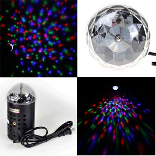 3W RGB Stage Colorful LED Light Crystal Lamp Voice Activated Rotating Disco DJ