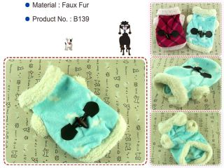 Dog Cat Clothes Check Pattern Pet Apparel Winter Jersey Faux Fur Coats B139