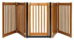 "Pet Dog 5 Panel 32"" Tall Expandable Walk thru Wood Wooden Gate Door Fence Bronze"