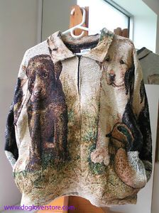 Black Chocolate Yellow Lab Dog Puppy Woven Tapestry Scene Sweater Jacket