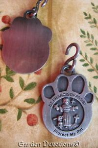 "St Francis Paw Print Cat Dog Pet Medal ""Protect My Pet"" Tag Charm Pawprint"
