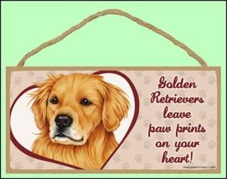 "Golden Retriever 10""x5"" Leave Paw Prints Dog Sign"